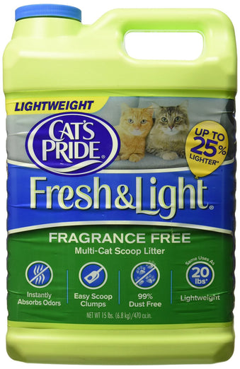 Cat's Pride Fresh & Light Fragrance-Free Premium Clumping Cat Litter Jug 15lb - Kohepets