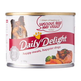 Daily Delight Luscious Beef And Veggy Canned Dog Food 180g