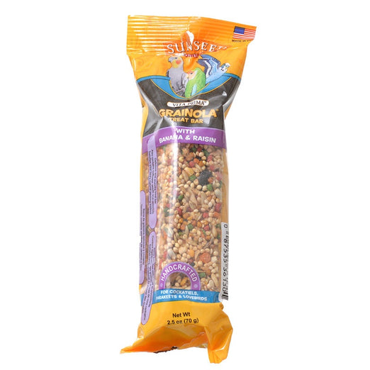 Sunseed Vita Prima Grainola Treat Bar With Banana & Raisin For Birds 2.5oz - Kohepets