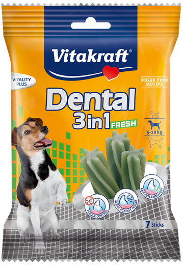 Vitakraft Dental 3-In-1 Fresh Small Dog Treat 7ct - Kohepets