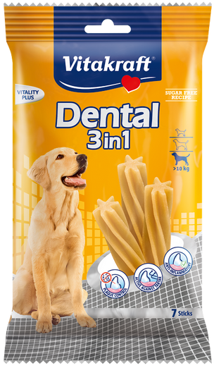Vitakraft Dental 3-In-1 Original Medium Dog Treat 7ct - Kohepets
