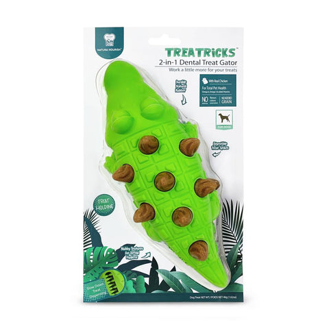 Natura Nourish Treatricks 2-in-1 Chicken Dental Chew Dog Toy (Gator) - Kohepets