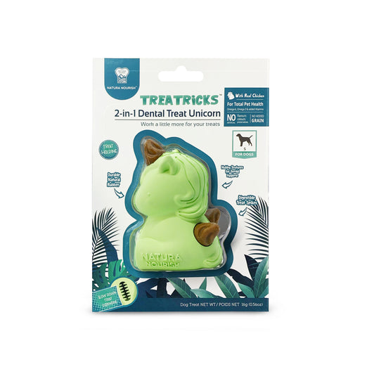 Natura Nourish Treatricks 2-in-1 Chicken Dental Chew Dog Toy (Baby Unicorn) - Kohepets