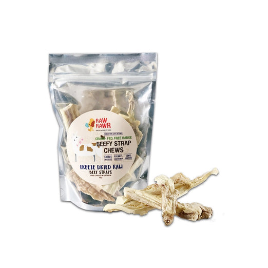 Raw Rawr Grass-Fed Free Range Beef Straps Freeze-Dried Raw Dog Chews 150g - Kohepets