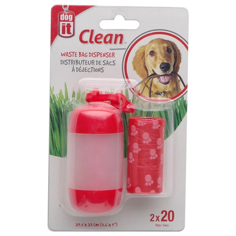 DogIt Waste Bag Dispenser 2 Rolls Red - Kohepets