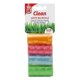 Dogit Waste Bags 8 Rolls/20 Bags - Assorted Colours