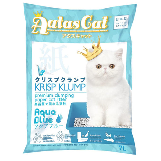 2 FOR $20: Aatas Cat Krisp Klump Paper Cat Litter Aqua Blue 7L - Kohepets
