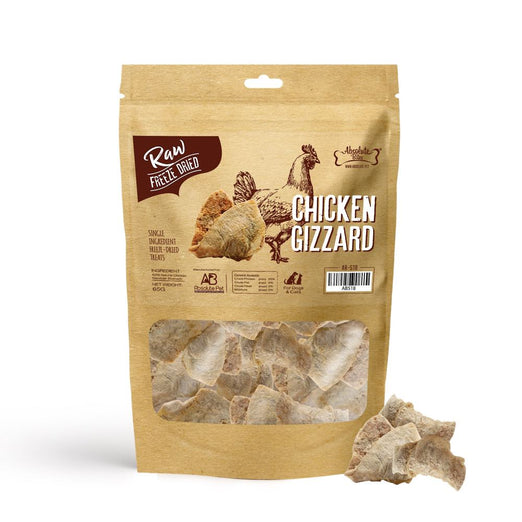3 FOR $31.80: Absolute Bites Chicken Gizzard Freeze Dried Raw Dog & Cat Treats 65g