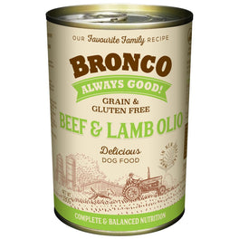 Bronco Beef & Lamb Olio Grain-Free Canned Dog Food 390g