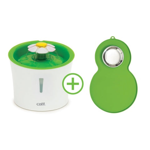 Catit Flower Drinking Fountain with Peanut Placemat 3L