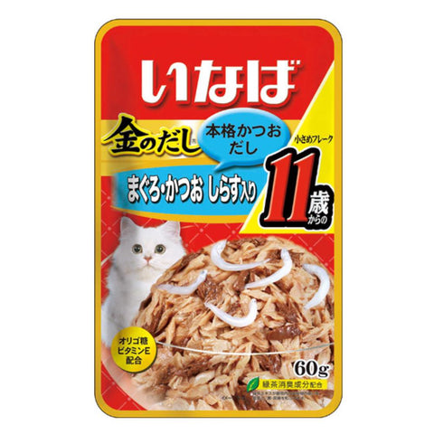 Ciao Golden Stock Small Tuna Flakes With Whitebait For Mature Cat 11+ Pouch Cat Food 60g x 12 - Kohepets