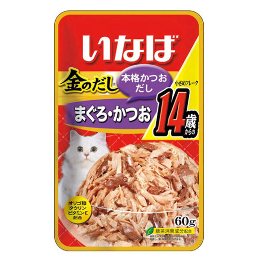 Ciao Golden Stock Small Tuna Flakes For Mature Cat 14+ Pouch Cat Food 60g x 12 - Kohepets