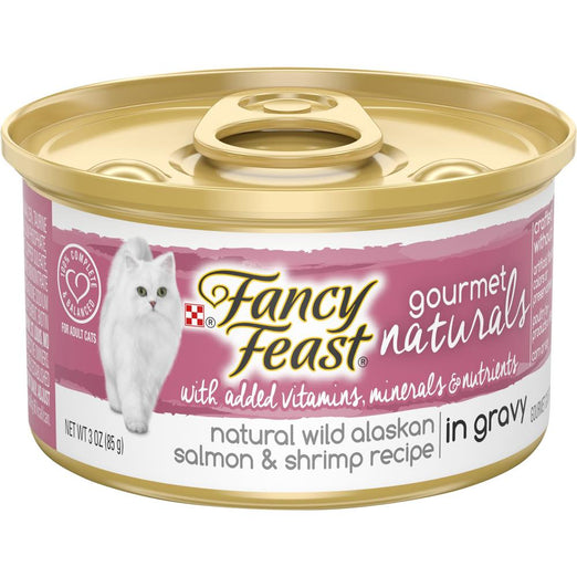Fancy Feast Gourmet Naturals Wild Alaskan Salmon & Shrimp In GRAVY Adult Canned Cat Food 85g - Kohepets