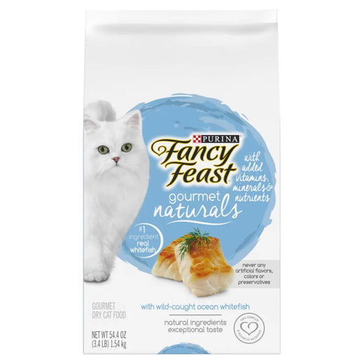 'FREE TREATS': Fancy Feast Gourmet Naturals Wild-Caught Ocean Whitefish Adult Dry Cat Food (11 TO 30 NOV) - Kohepets