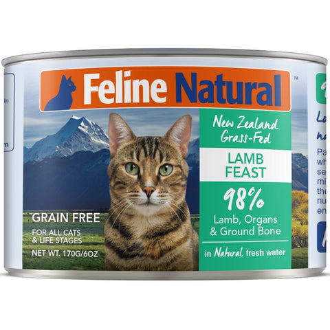 3 FOR $12.60: Feline Natural Lamb Feast Grain-Free Canned Cat Food 170g