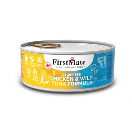 FirstMate Grain Free 50/50 Cage Free Chicken & Wild Tuna Formula Canned Cat Food 156g