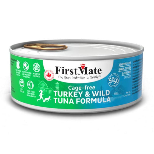 FirstMate Grain Free 50/50 Cage Free Turkey & Wild Tuna Formula Canned Cat Food 156g - Kohepets