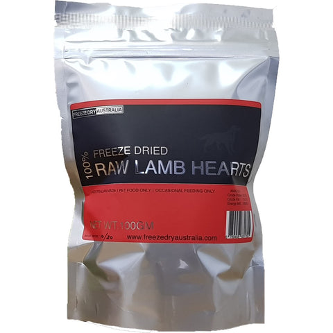 BUY 2 GET 1 FREE: Freeze Dry Australia Raw Lamb Hearts Cat & Dog Treats 100g