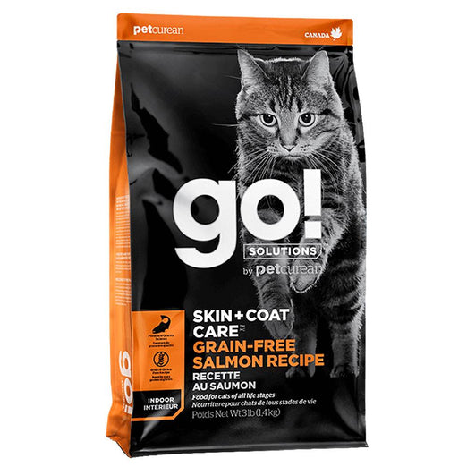 Petcurean Go! Skin + Coat Care Salmon Recipe Dry Cat Food 3lb - Kohepets