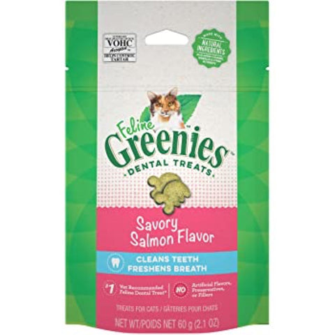 20% OFF: Greenies Savory Salmon Cat Flavor Dental Treats 2.1oz - Kohepets