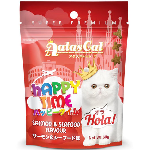 '40% OFF (Exp Jan 21)': Aatas Cat Happy Time Hola! Salmon & Seafood Cat Treats 60g (11 TO 30 NOV) - Kohepets