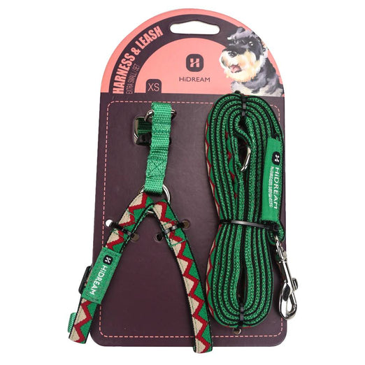 HiDREAM Rainbow Mini Dog Harness & Leash Set (Green)