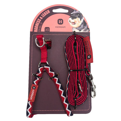 HiDREAM Rainbow Mini Dog Harness & Leash Set (Red)