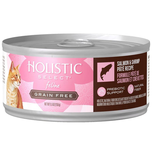 Holistic Select Grain Free Salmon and Shrimp Pate Canned Cat Food 156g - Kohepets