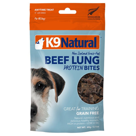 K9 Natural Beef Lungs Protein Bites Dog Treats 60g