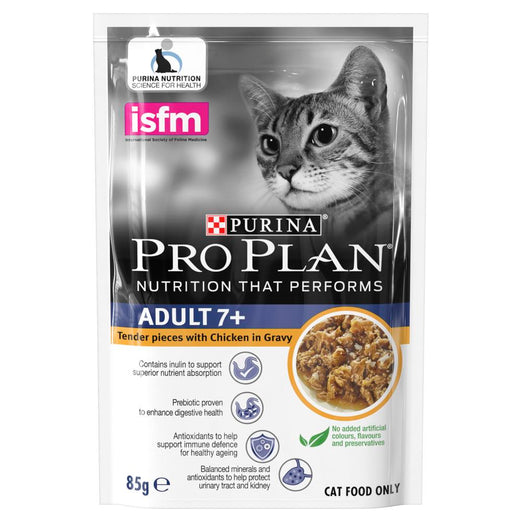 20% OFF: Pro Plan Chicken In Gravy Adult 7+ Pouch Cat Food 85g x 12 - Kohepets