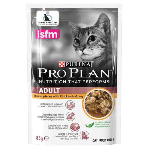 20% OFF: Pro Plan Chicken In Gravy Adult Pouch Cat Food 85g x 12 - Kohepets