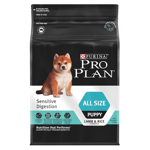'FREE TREATS + 15% OFF': Pro Plan Sensitive Digestion Lamb & Rice All Size Puppy Dry Dog Food 2.5kg - Kohepets
