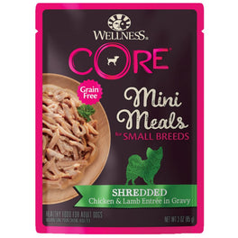 BUY 3 GET 1 FREE: Wellness CORE Mini Meals Shredded Chicken & Lamb Entrée In Gravy Pouch Dog Food 3oz