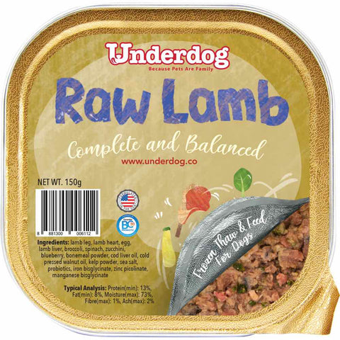 12% OFF: Underdog Raw Lamb Complete & Balanced Frozen Dog Food 150g (LIMITED TIME)