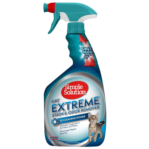 33% OFF: Simple Solution Extreme Stain & Odor Remover Spray For Cats 945ml - Kohepets