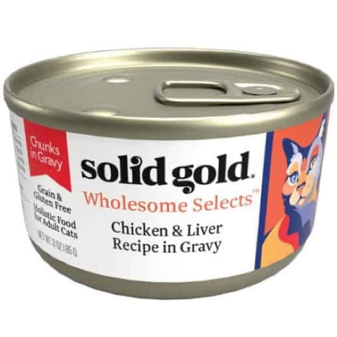 Solid Gold Wholesome Selects Chicken & Liver in Gravy Grain Free Canned Cat Food 85g - Kohepets