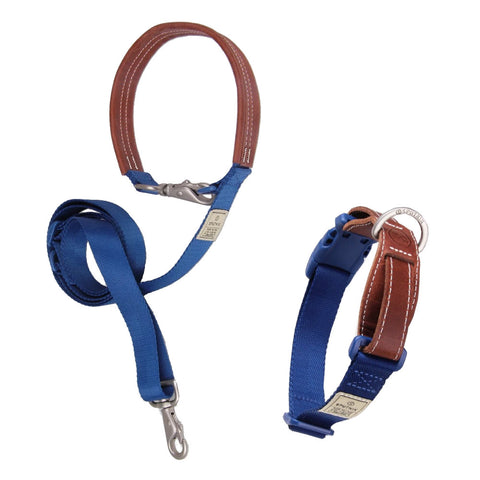 $3 OFF: Sputnik Nylon Dog Collar + Multifunctional Leash Set (Blue) - Kohepets