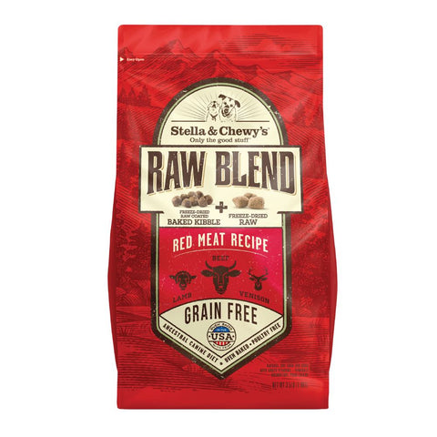 25% OFF + FREE TREAT: Stella & Chewy's Raw Blend Red Meat Kibble With Freeze-Dried Raw Grain-Free Dry Dog Food