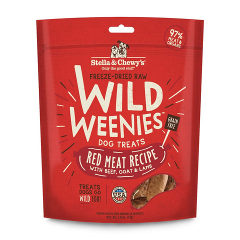 3 FOR $36: Stella & Chewy's Wild Weenies Red Meat Recipe Grain Free Freeze-Dried Raw Dog Treats 3.25oz
