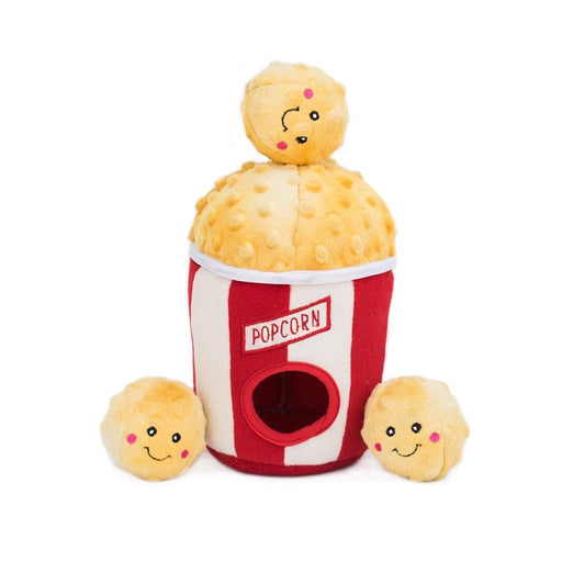 ZippyPaws Zippy Burrow Popcorn Bucket Plush Dog Toy