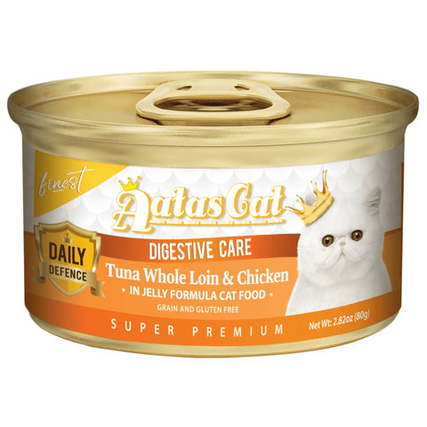 Aatas Cat Finest Daily Defence Digestive Care - Tuna Whole Loin & Chicken in Jelly Canned Cat Food 80g - Kohepets