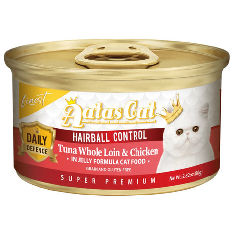 Aatas Cat Finest Daily Defence Hairball Control - Tuna Whole Loin & Chicken in Jelly Canned Cat Food 80g - Kohepets