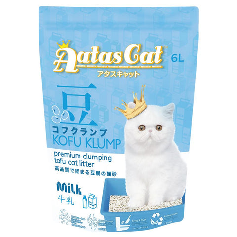 3 FOR $21: Aatas Cat Kofu Klump Tofu Cat Litter (Milk) 6L