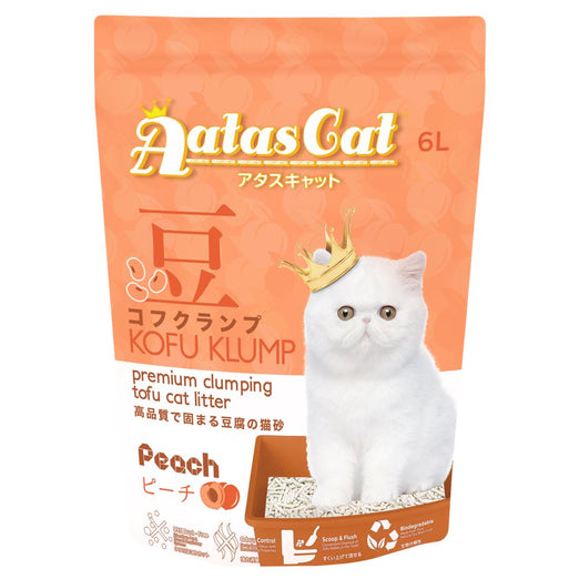 3 FOR $21: Aatas Cat Kofu Klump Tofu Cat Litter (Peach) 6L - Kohepets