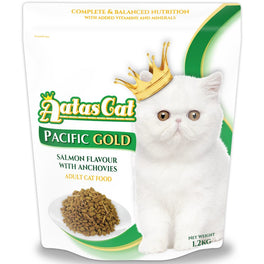 FREE CANNED FOOD: Aatas Cat Pacific Gold Salmon Flavour with Anchovies Dry Cat Food 1.2kg