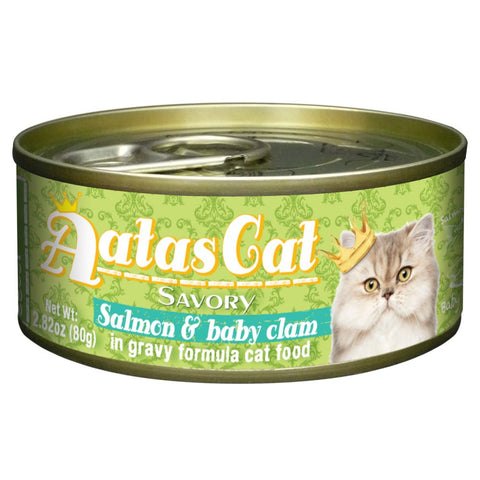 Aatas Cat Savory Salmon & Baby Clam in Gravy Canned Cat Food 80g
