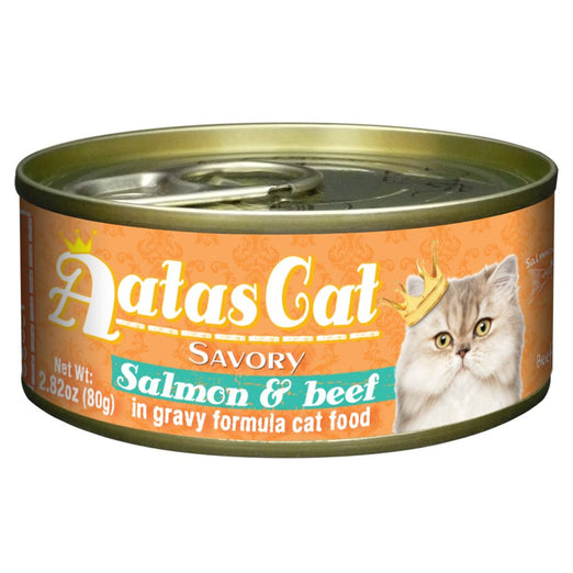 Aatas Cat Savory Salmon & Beef in Gravy Canned Cat Food 80g - Kohepets
