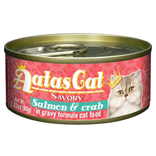 Aatas Cat Savory Salmon & Crab in Gravy Canned Cat Food 80g - Kohepets