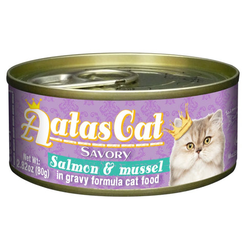 Aatas Cat Savory Salmon & Mussel in Gravy Canned Cat Food 80g - Kohepets