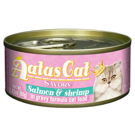 Aatas Cat Savory Salmon & Shrimp in Gravy Canned Cat Food 80g